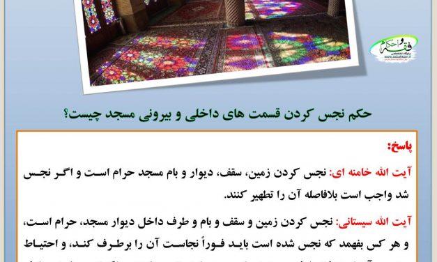 حکم نجس کردن قسمت های داخلی و بیرونی مسجد چیست؟