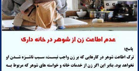 عدم اطاعت زن از شوهر در خانه داری ۲