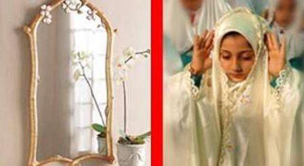 نماز روبروی آینه و عکس